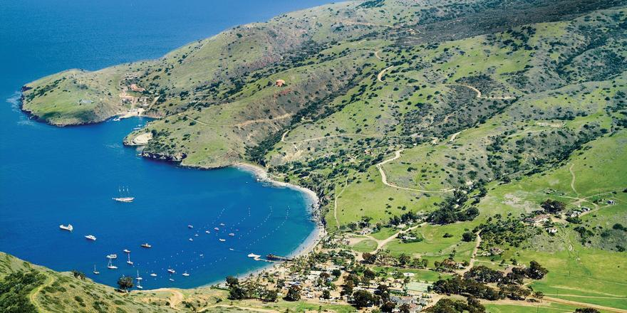 Aerial view of Catalina Island