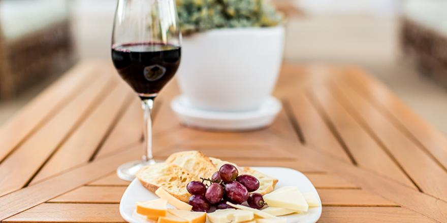 Cheese plate and glass of wine at Pavilion Hotel on Catalina Island