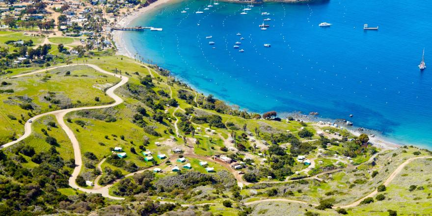 Aerial view of campgrounds on the isthmus of Catalina Island