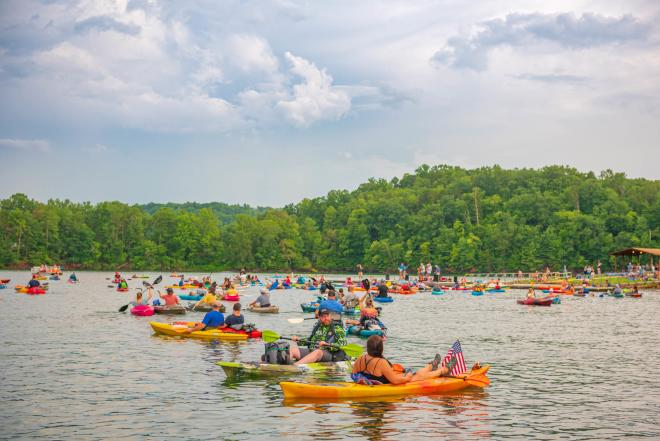 People in Canoes enjoying the Concerts by Canoe Summer Concert Series in Franklin County, VA