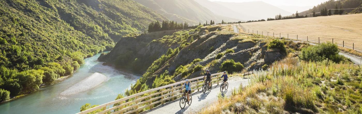 Biking along the Queenstown trail in Gibbston Valley