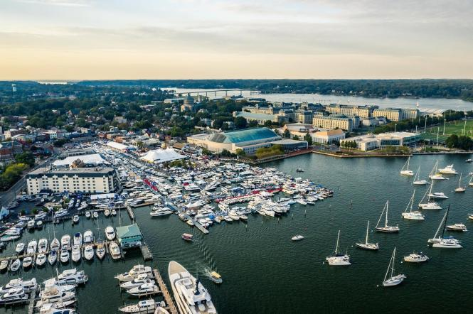 Aerial image of the US Power Boat Show in Annapolis from 410Films