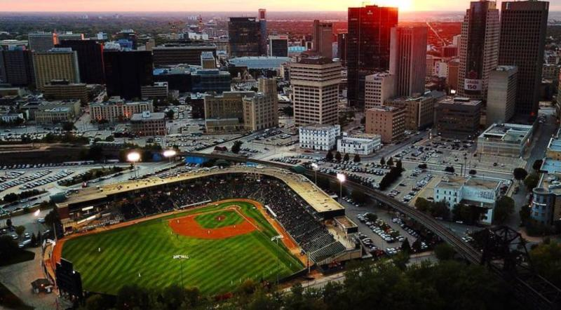 Aerial shot of Goldeyes Stadium and downtown Winnipeg at sunset