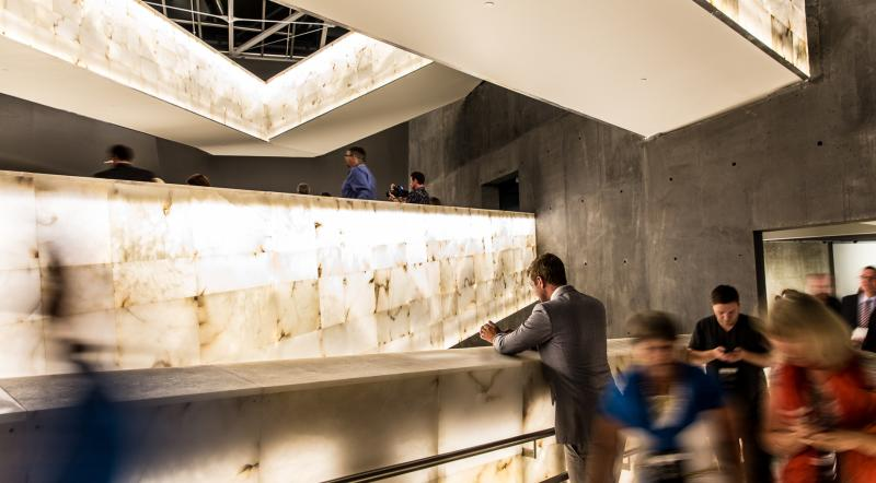 Visitors take photos on the ramps at the Canadian Museum for Human Rights