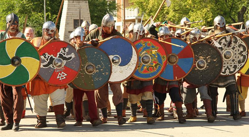 Viking warriors forming a shield wall at Manitoba's Icelandic Festival in Gimli
