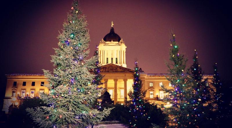 Manitoba legislative at Christmas