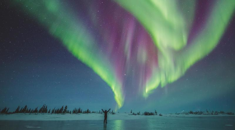 Under the northern lights on the ice near Churchill, Manitoba