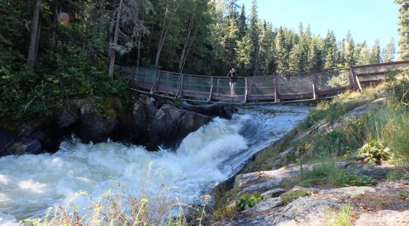 Suspension bridge over Wekusko Falls
