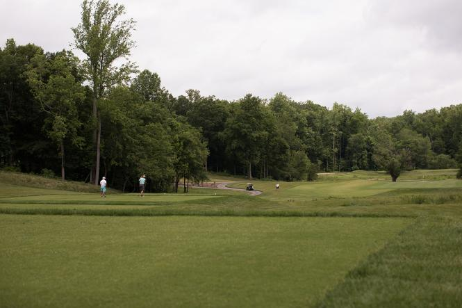 Golfers on the greens at The Preserve at Eisenhower Golf Course