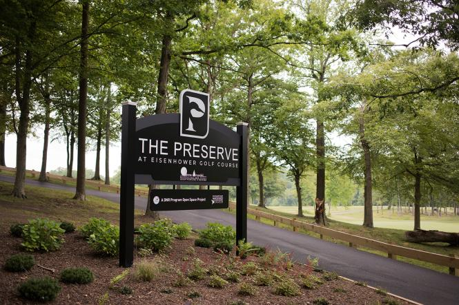 The Preserve sign at the entrance to the golf course
