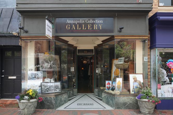 The entrance to the Annapolis Collection gallery on West St. in Annapolis