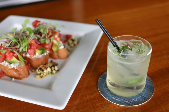 Bruschetta and a cocktail at the Chart House.