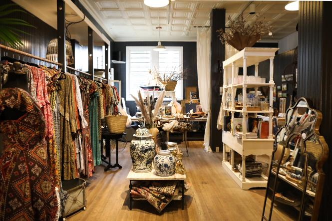 The interior of Vignette carries homes goods, clothing and pantry items.