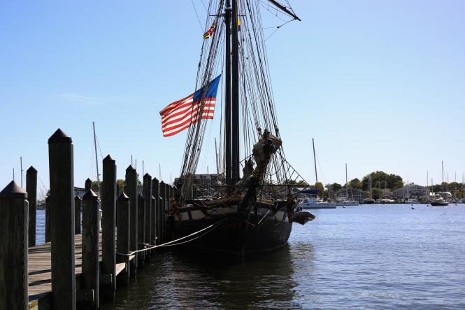 The American flag flies on the Tall Ship Lynx.