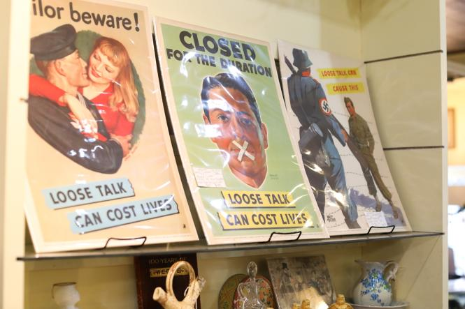 WWII propaganda posters at Evergreen Antiques.