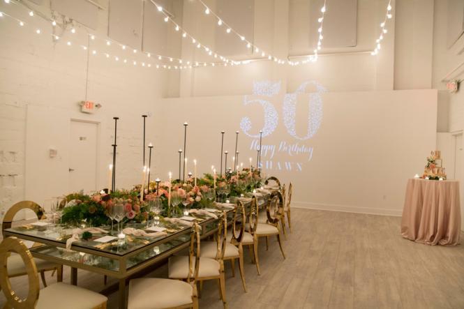 A 50th birthday celebration set up at Prism