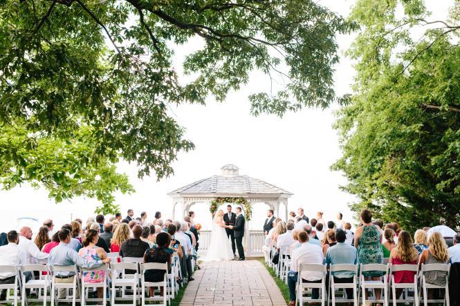 A waterside wedding at Kurtz Beach's pavilion.