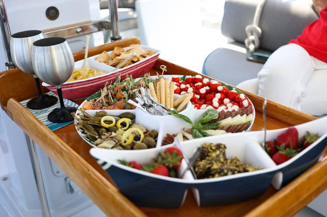 A catered spread by Seas the Bay Sailing