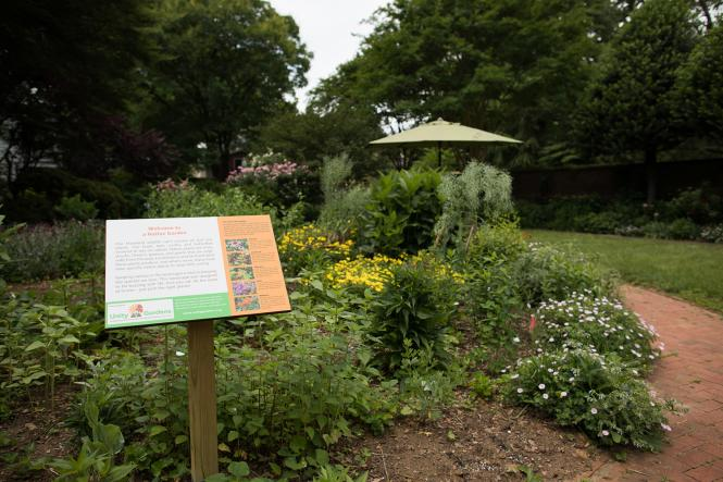 A sign in the Chase Home Garden display their Bay-Wise certification methods.