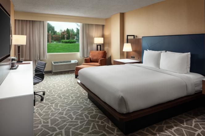 A King Suite at the Doubletree by Hilton Annapolis.