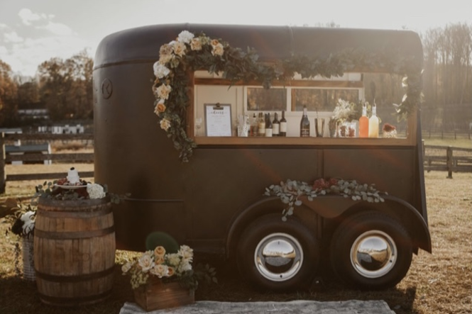 Horse trailer turned into a mobile bar