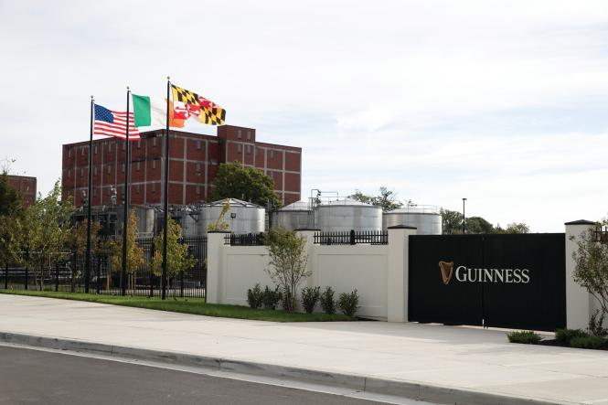 Guinness Open Gate Brewery just outside of Baltimore flies the US, Irish & MD Flags.