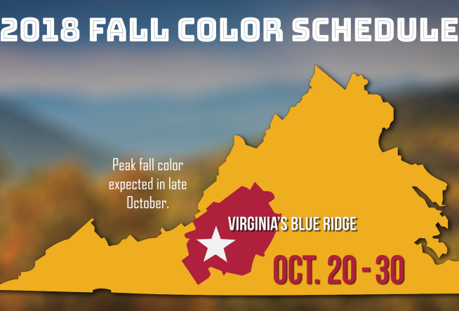 2018 Fall Color Schedule for Virginia's Blue Ridge - Roanoke, VA