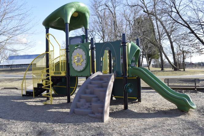 A playscape that looks like a tractor at Kinder Farm park.