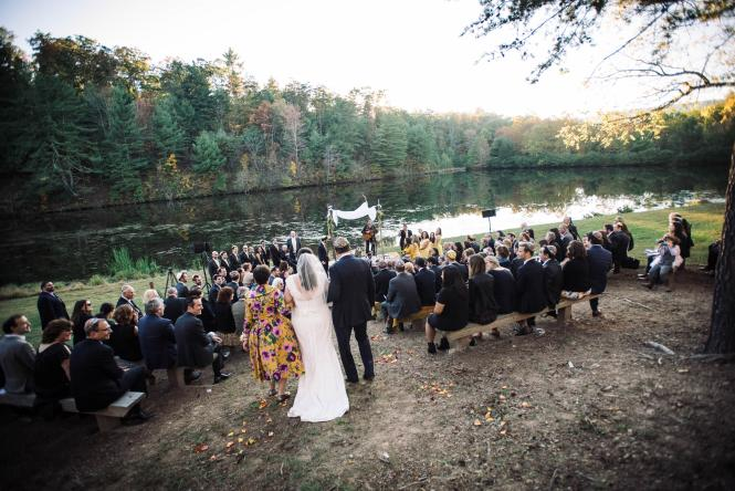 A couple opts for a waterside ceremony in Millersville, MD.