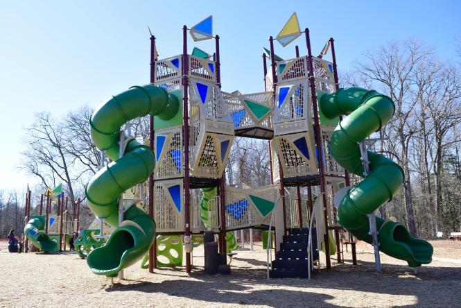 Downs park playground's spiral slide