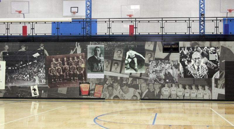 Glenn Curtis Gym at John R Wooden Middle School features this fun 135 ft. wall wrap featuring historic photos.