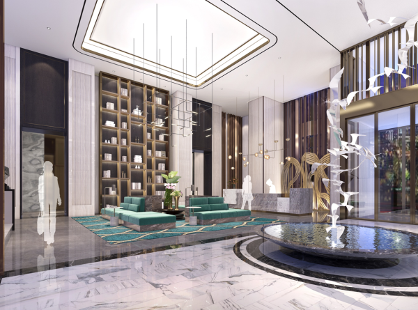 Blossom Houston Hotel rendering of lobby