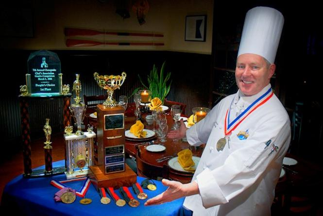 Chef McKnew and all of his awards for his cream of crab soup.