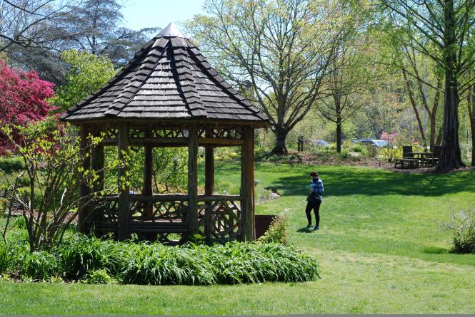 London Town and Gardens gazebo in a field near the South River