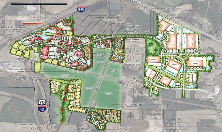 Planned Community Drawing Mock-up Placed Over Google Earth Photo
