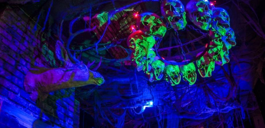Neon Skull Chandelier