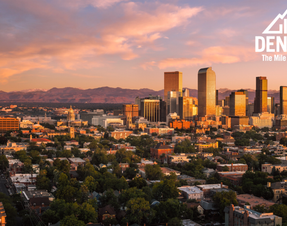 Zoom background - Denver skyline sunset