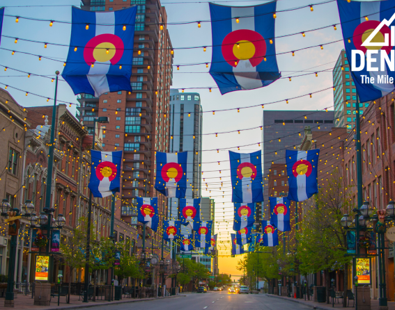 Zoom background - Larimer Square flags