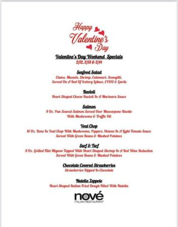 Nove Valentine's Day Menu