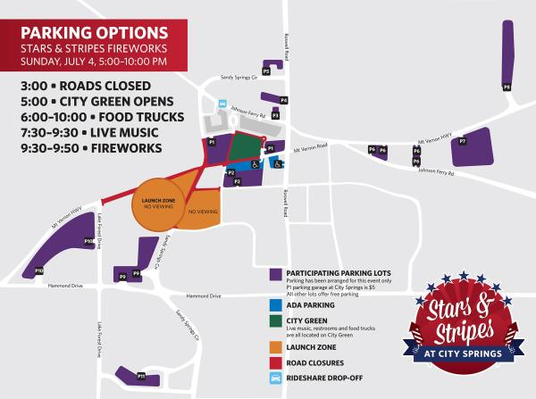 A parking map for the 2021 Stars and Stripes Fireworks at City Springs.