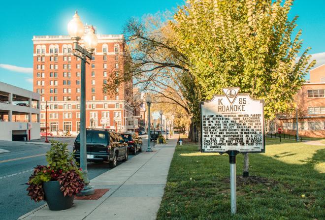 Jefferson St. in downtown Roanoke on a blue sky day.