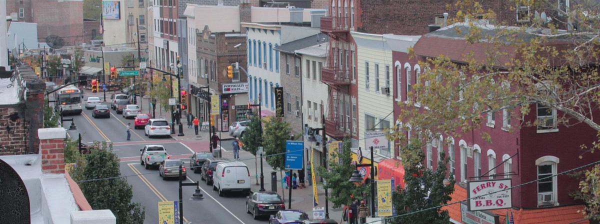 Busy Downtown Street In Newark