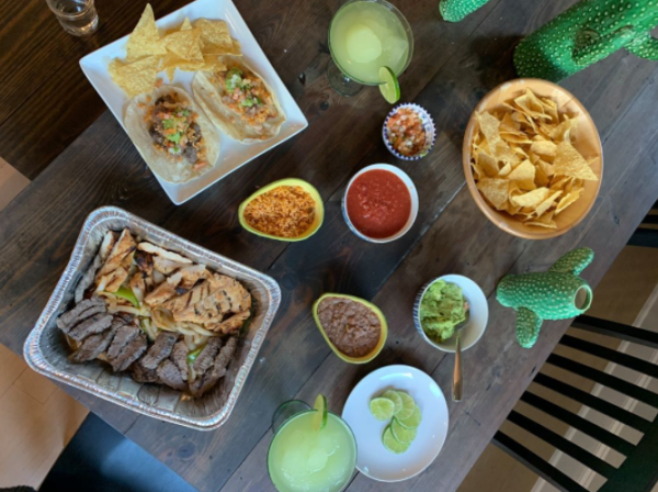 A spread of dishes at El Fenix in Irving, TX