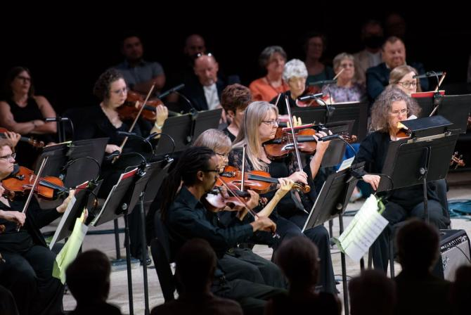 The Wichita Symphony Orchestra performs on the stage at Century II