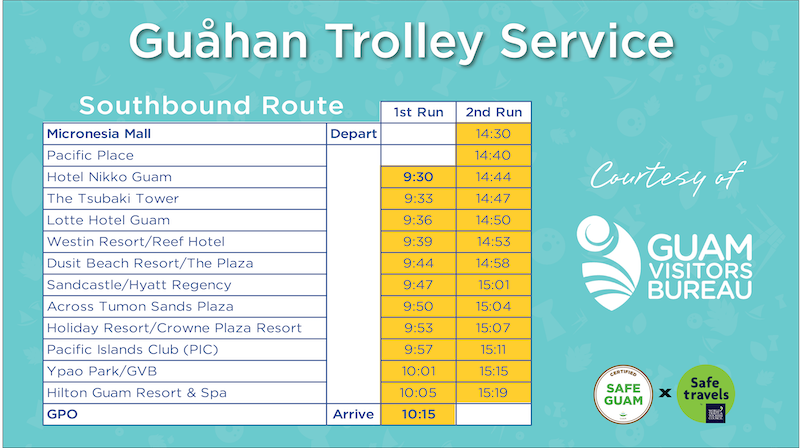 Free trolley service SOUTH