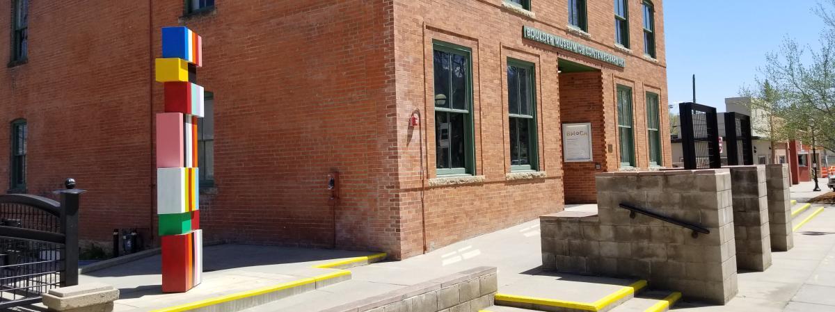 Block sculpture outside the BMoCA Building