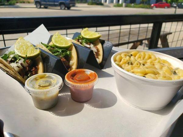 Tacos and mac and cheese from Cartel Taco Bar