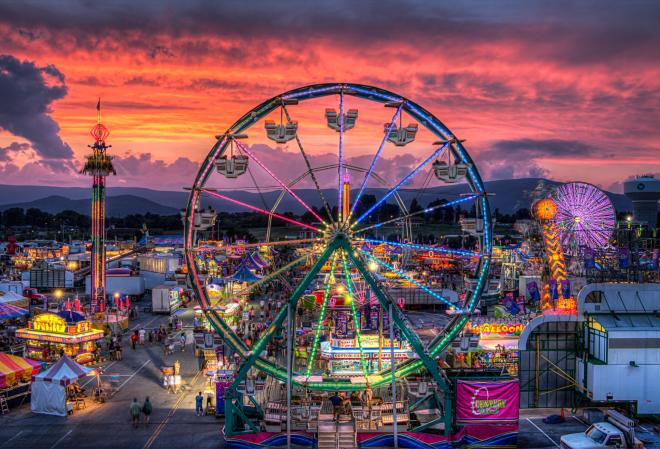 View of the Ferris wheel at dusk at the Salem Fair