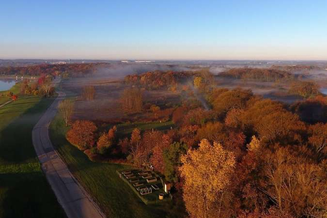 Lake Andrea Fall Drone Picture of lake and community gardens
