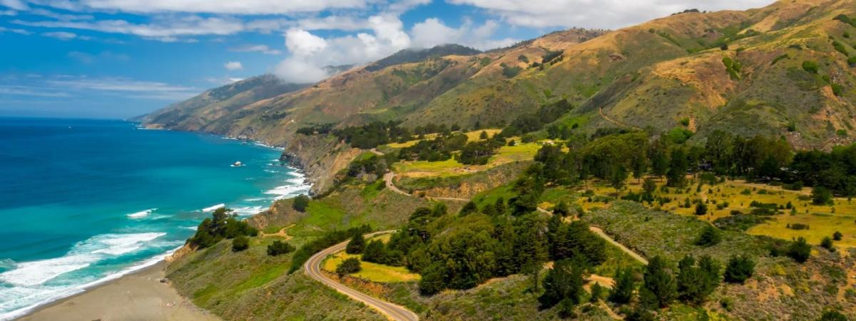 Scenic view of mountains and the Pacific Ocean from California's Highway 1 in SLO CAL